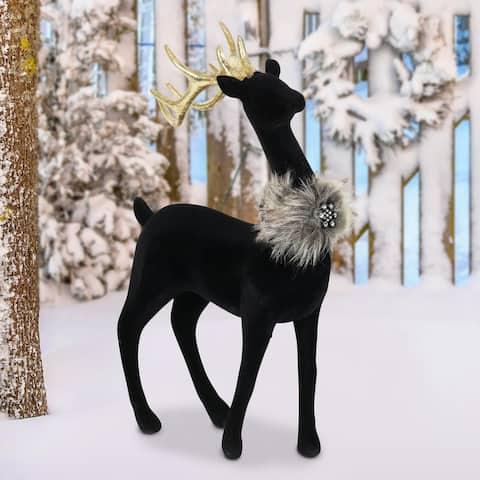 Exhart Holiday Black Velvet Gazing Reindeer Statue, 11.5 Inches