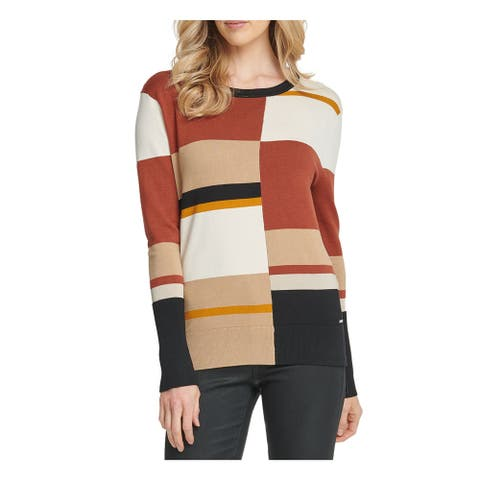 DKNY Womens Orange Color Block Long Sleeve Crew Neck Sweater Size XS