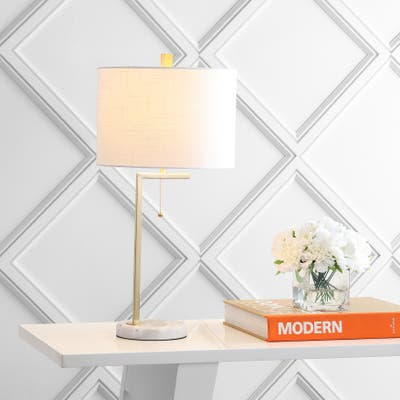 """Alyssa 24.5"""" Metal LED Table Lamp, Brass Gold/White by JONATHAN Y"""
