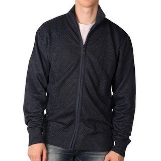 Outback Rider Young Men's Full-Zip Jaquard Acrylic Sweater (Option: Brown)