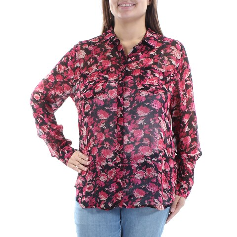 LUCKY BRAND Womens Red Sheer Floral Cuffed Collared Button Up Wear To Work Top Size: XL