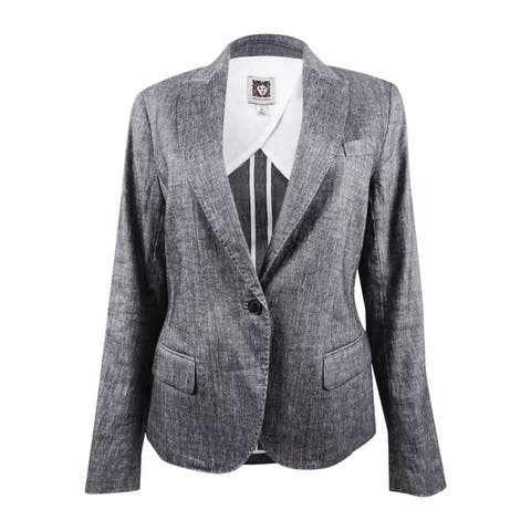 Anne Klein Women's Linen Blend One-Button Suit Jacket (6, Black/White) - Black/White - 6