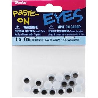 Paste-On Wiggle Eyes 8mm 18/Pkg-Black - Black