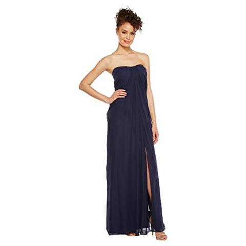 Aidan Mattox Womens Strapless Shirred Chiffon Gown