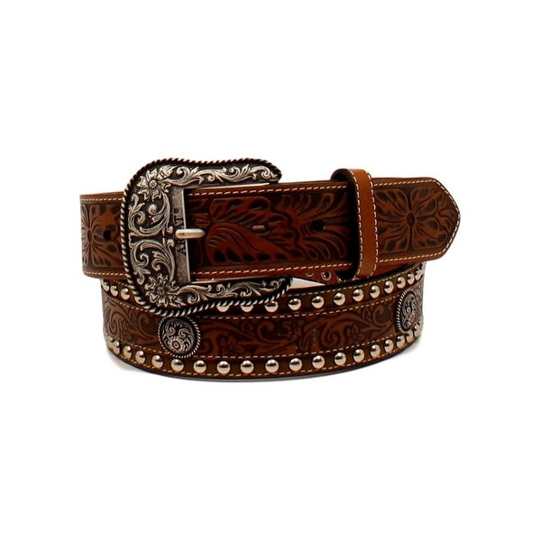 Ariat Western Belt Mens Overlay Tooled Floral Round Brown