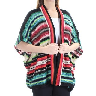 RALPH LAUREN $135 Womens 1178 Black Open Cardigan 3/4 Sleeve Sweater L B+B