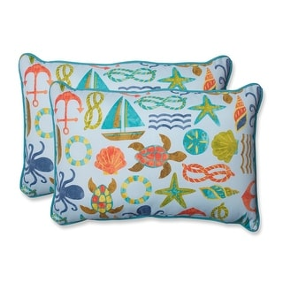 "Set of 2 Seaside Pleasure Oversized Reversible Sea Life Print Outdoor Rectangle Throw Pillows 24.5"" x 16.5"""