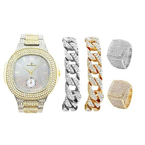 Bling-ed Out Oblong Case Two Tone Mens PP Look Watch Cuban Bracelets and Rings - 8475BTT Cuban Set