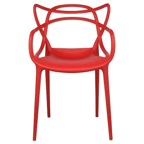 2xhome-single Modern Contemporary Design Master Red Dining Arm Chairs