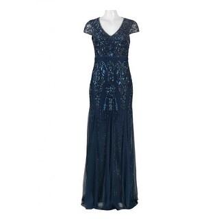 Adrianna Papell Cap Sleeve Fully Beaded Gown V-Neckline, Dark Blue, 4M - Dark Blue