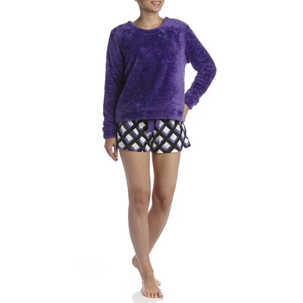 Hue Sleepwear Fleece Top/Boxer PJ Set