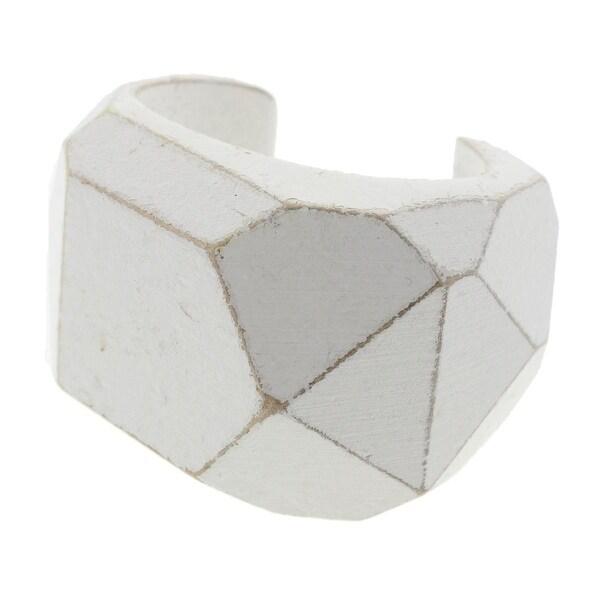 Zara Womens Cuff Bracelet Distressed Wood - White
