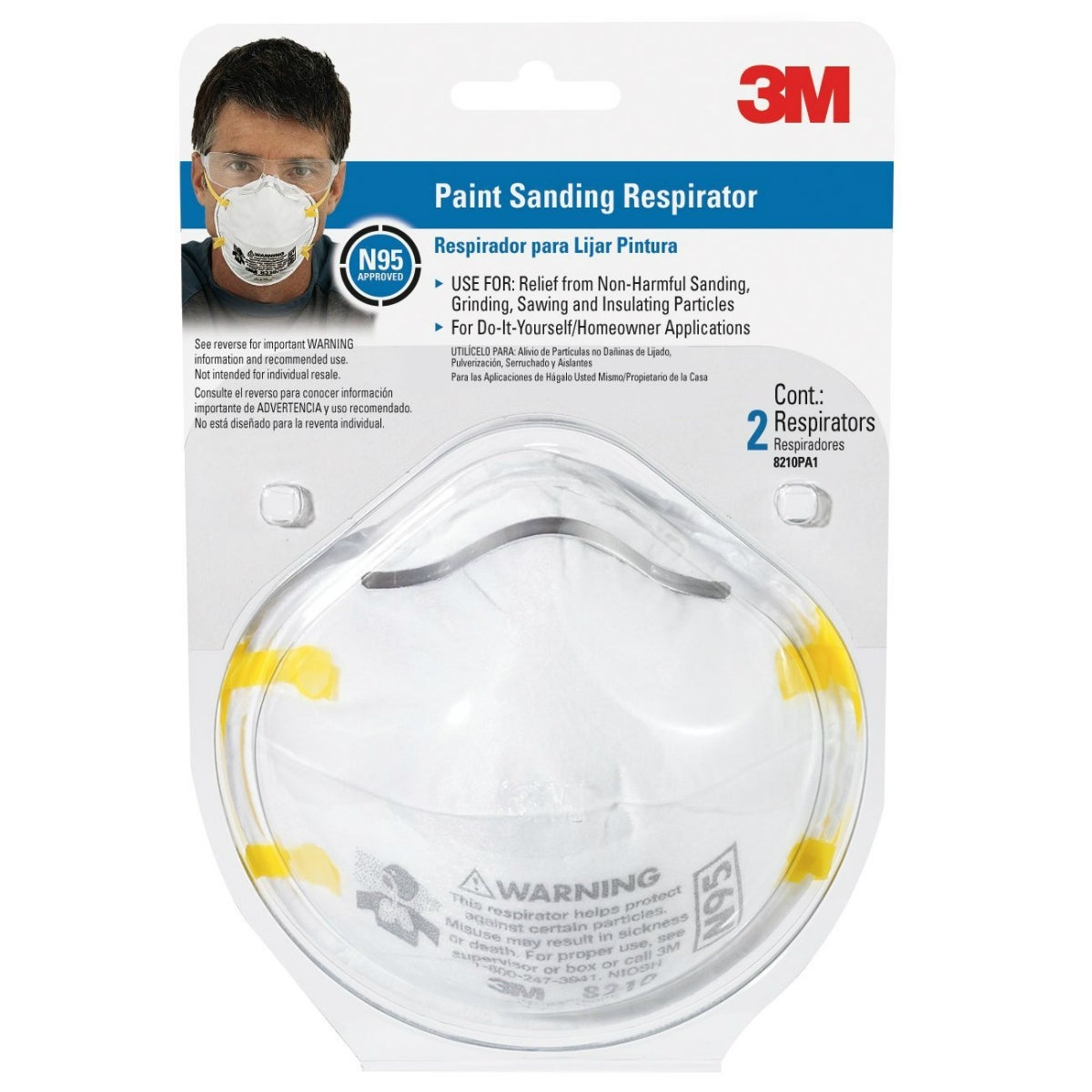 3M 8210PA1-A TEKK Protection N95 Paint Sanding Respirator, 2-Pack