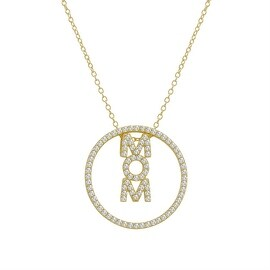 Amanda Rose 3-in-1 CZ Mom Pendant-Necklace in Gold Plated Sterling Silver on a 18 in. Chain