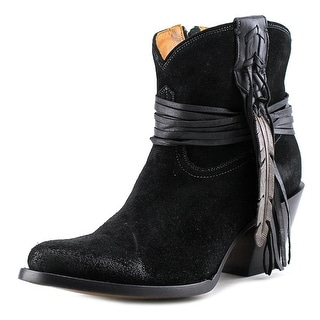 Lucchese Shorty W/Fringe Women Round Toe Suede Black Western Boot
