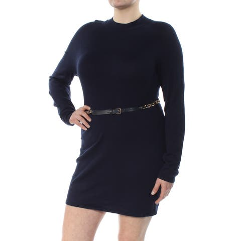 INC Womens Navy Belted Long Sleeve Turtle Neck Above The Knee Sheath Wear To Work Dress Size: XL
