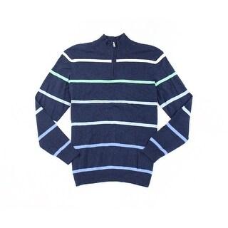 Club Room NEW Navy Blue Mens Size XL Striped 1/2 Zip Silk Sweater