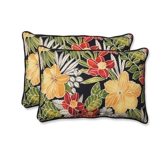 Set of 2 Fleur Noir Reversible Oversized Rectangular Outdoor Throw Pillows