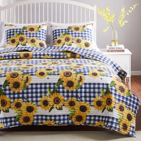 Barefoot Bungalow Sunflower Oversized & Reversible Quilt Set