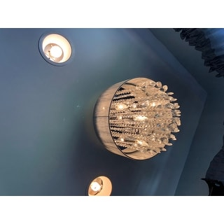 """Silver and Crystal 15""""W Ceiling Light Chandelier Pendant Flush Mount"""
