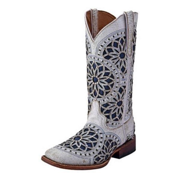 Ferrini Western Boots Womens Mandala Square Toe Cowboy White