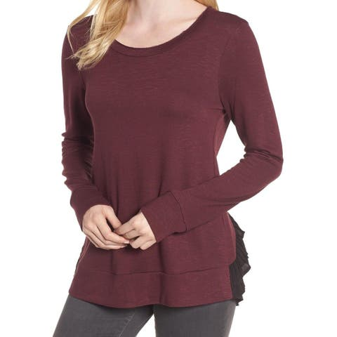 Chelsea28 Women's Small Mesh Tiered Tulle Back Sweater