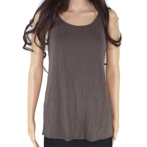 Eileen Fisher Women's Brown Size XS Scoop Neck Loose Fit Tank Cami Top