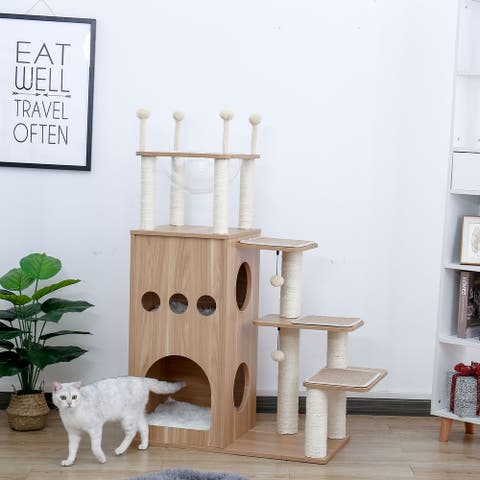 Modern Cat Tower Featuring with Fully Sisal Covering Scratching Posts