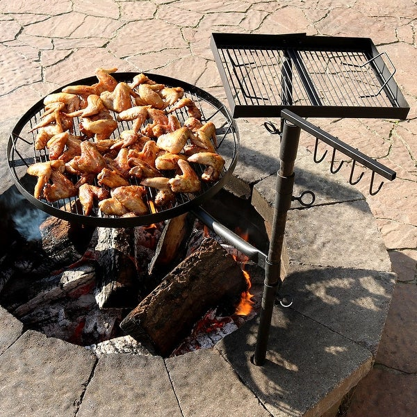 Sunnydaze Black Steel Heavy-Duty Dual Fire Pit Campfire Cooking Grill System