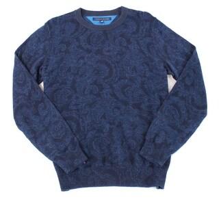 Tommy Hilfiger NEW Blue Navy Knit Print Men Large L Crewneck Sweater