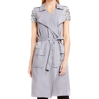 Two by Vince Camuto NEW Gray Women's Size Medium M Trench Vest Jacket