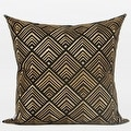 "G Home Collection Luxury Black and Gold Geometry Pattern Embroidered Pillow 20""X20"" - Thumbnail 0"