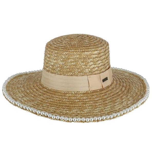 0dd30043b1 Shop Epoch Hats Company Women's Straw Boater Hat with Beaded Edge ...