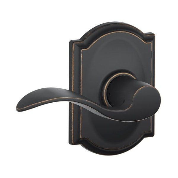 Schlage F10-ACC-CAM Passage Accent Door Leverset with the Decorative Camelot Rose