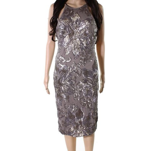 Betsy & Adam Womens Sheath Dress Taupe Brown 10 Sequined Mesh Halter