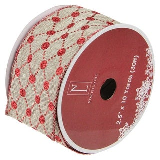"""Connecting The Dots Red and White Diamond Wired Christmas Craft Ribbon 2.5"""" x 10 Yards"""