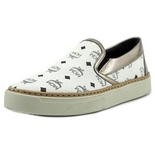 MCM Monogram Round Toe Leather Sneakers
