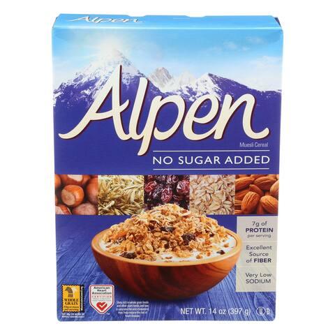 Alpen No Added Sugar Muesli Cereal - Case of 12 - 14 oz.
