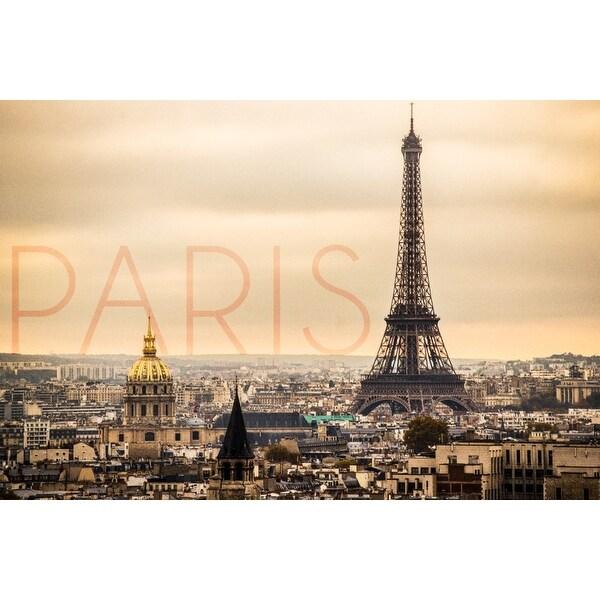 Paris France City & Eiffel Tower - LP Photography (100% Cotton Towel Absorbent)