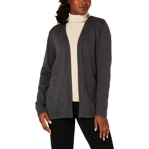 Karen Scott Womens Petites Cardigan Sweater Ribbed Trim Open Front - PP