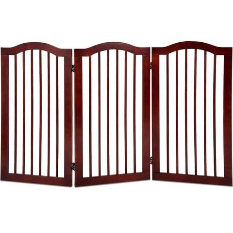 "3 Panels Folding Freestanding Wood Pet Dog Safety Gate-36"" - Brown"