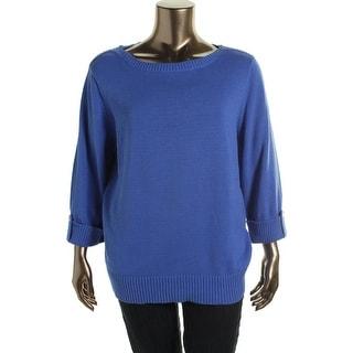 Karen Scott Womens Plus Ribbed Trim Boatneck Pullover Sweater - 3X