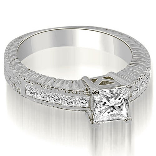 1.40 cttw. 14K White Gold Antique Princess Cut Diamond Engagement Ring