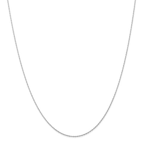 10K White Gold Polished .5mm Carded Cable Rope Chain by Versil