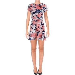 Aqua Womens Cocktail Dress Floral Print Short Sleeves