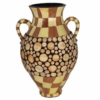 Ceramic/Wood Encrusted Vase, Multicolor(EN30335)