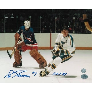 "Eddie Giacomin New York Rangers Autographed 8x10 Photo Inscribed ""HOF 87"" -Verse the Blues-"