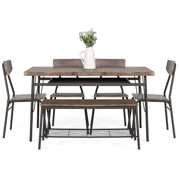Shop 6-Piece Brown Wooden Dining Set with 4 Chairs Bench ... on Safavieh Outdoor Living Horus Dining Set id=86206