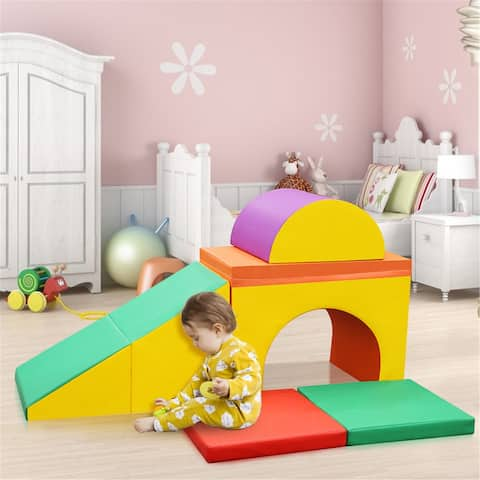 Educational 5 Piece Safe Soft Foam Play Set, Single-Tunnel Foam Climber, Freestanding Indoor Active Play Structure