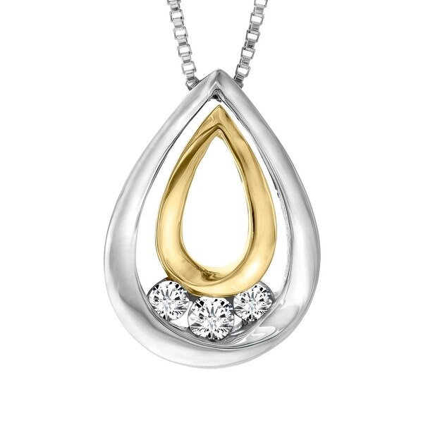 1/5 ct Diamond Teardrop Pendant in Sterling Silver and 14K Gold